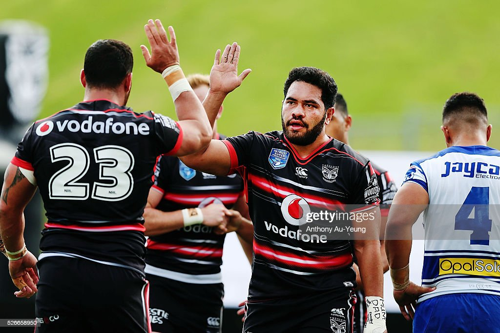 Konrad Hurrell of the Warriors celebrates with teammate Bodene Thompson during the round nine NSW Intrust Super Cup Premiership match between the New Zealand Warriors and the Canterbury Bankstown Bulldogs at Mt Smart Stadium on May 1, 2016 in Auckland, New Zealand.