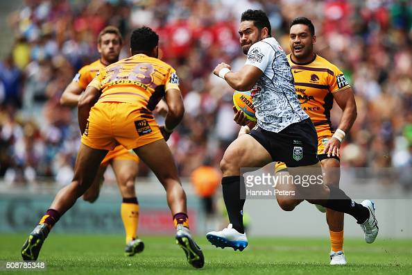 Konrad Hurrell of the Warriors charges forward during the 2016 Auckland Nines match between the New Zealand Warriors and the Brisbane Broncos at Eden...