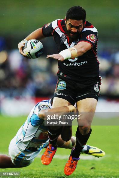 Konrad Hurrell of the Warriors charges forward during the NRL round 25 match between the New Zealand Warriors and the Gold Coast Titans at Mt Smart...