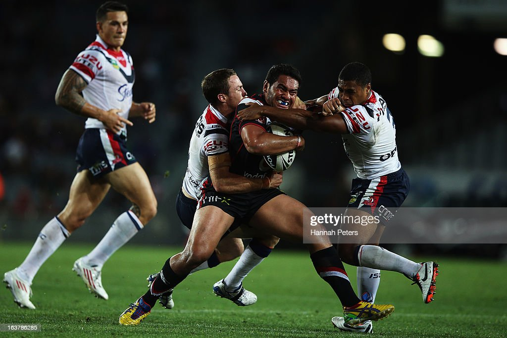 Konrad Hurrell of the Warriors charges forward during the round two NRL match between the New Zealand Warriors and the Sydney Roosters at Eden Park on March 16, 2013 in Auckland, New Zealand.