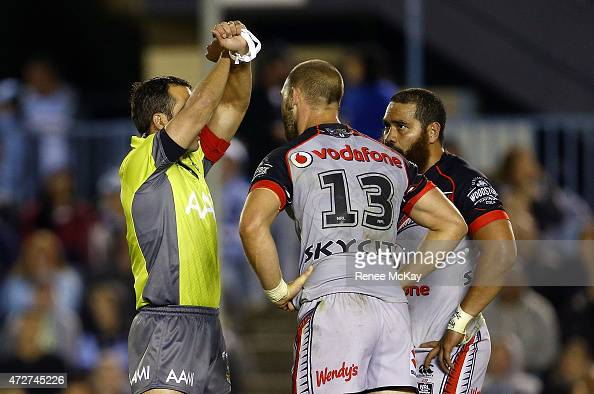 Konrad Hurrell of the Warriors is put on report by referee Gavin Morris during the round nine NRL match between the Sharks and the Warriors at...