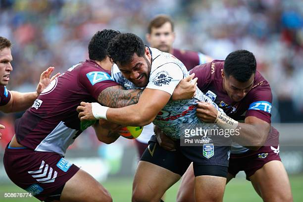 Konrad Hurrell of the Warriors is tackled during the 2016 Auckland Nines match between the New Zealand Warriors and the Manly Sea Eagles at Eden Park...