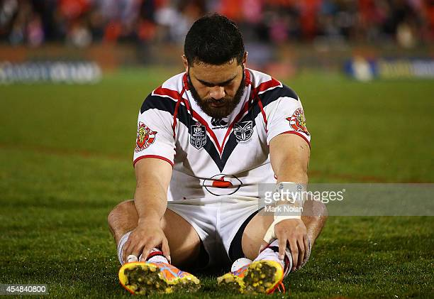 Konrad Hurrell of the Warriors looks dejected after the round 26 NRL match between the Penrith Panthers and the New Zealand Warriors at Sportingbet...
