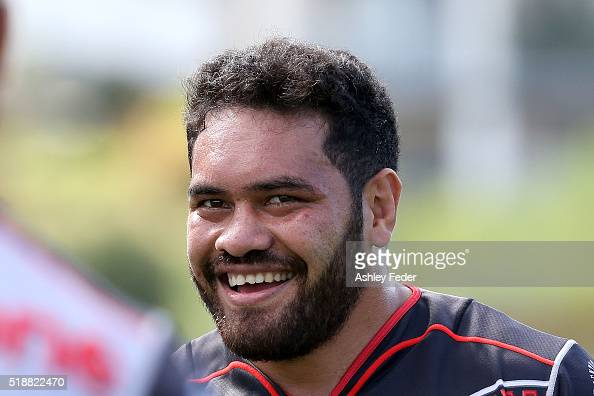 Konrad Hurrell of the Warriors looks on during the round five NRL match between the Sydney Roosters and the New Zealand Warriors at Central Coast...