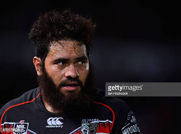 Konrad Hurrell of the Warriors looks on during the round seven NRL match between the North Queensland Cowboys and the New Zealand Warriors at...
