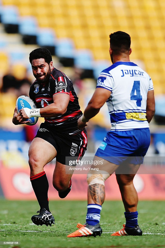 Konrad Hurrell of the Warriors on the charge during the round nine NSW Intrust Super Cup Premiership match between the New Zealand Warriors and the Canterbury Bankstown Bulldogs at Mt Smart Stadium on May 1, 2016 in Auckland, New Zealand.
