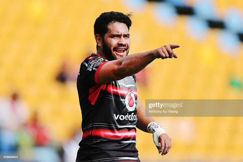 Konrad Hurrell of the Warriors reacts during the round nine NSW Intrust Super Cup Premiership match between the New Zealand Warriors and the Canterbury Bankstown Bulldogs at Mt Smart Stadium on May 1, 2016 in Auckland, New Zealand.