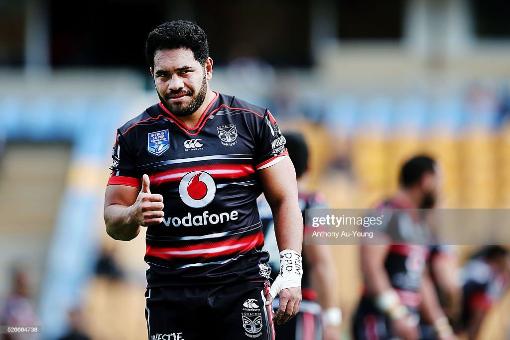 <a gi-track='captionPersonalityLinkClicked' href=/galleries/search?phrase=Konrad+Hurrell&family=editorial&specificpeople=8308514 ng-click='$event.stopPropagation()'>Konrad Hurrell</a> of the Warriors reacts during the round nine NSW Intrust Super Cup Premiership match between the New Zealand Warriors and the Canterbury Bankstown Bulldogs at Mt Smart Stadium on May 1, 2016 in Auckland, New Zealand.