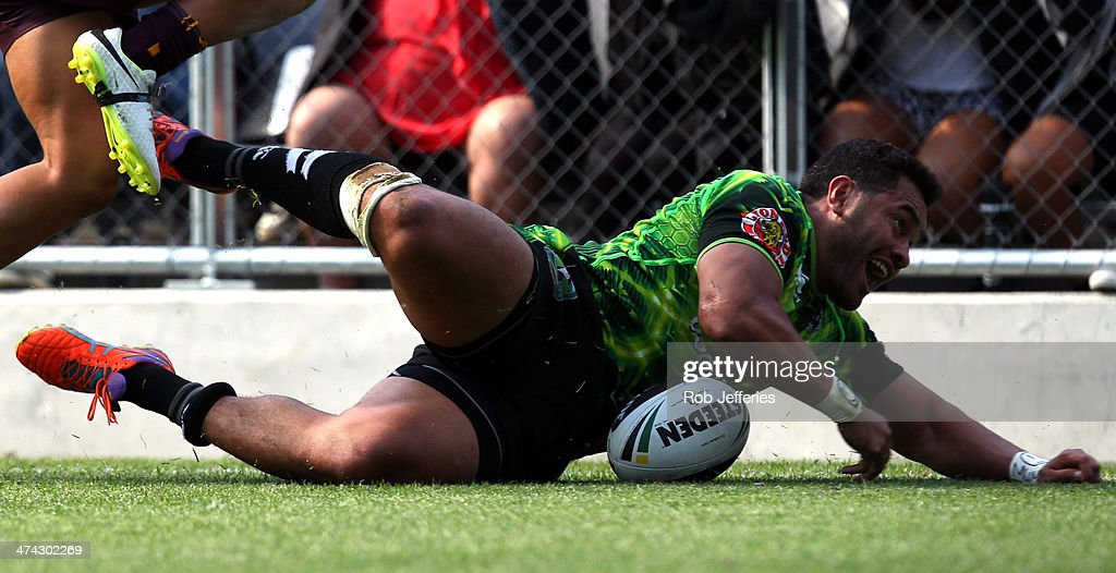 Konrad Hurrell of the Warriors scores a try during the NRL trial match between the Brisbane Broncos and the New Zealand Warriors at Forsyth Barr Stadium on February 23, 2014 in Dunedin, New Zealand.