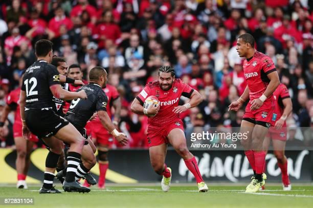 Konrad Hurrell of Tonga makes a run during the 2017 Rugby League World Cup match between the New Zealand Kiwis and Tonga at Waikato Stadium on...