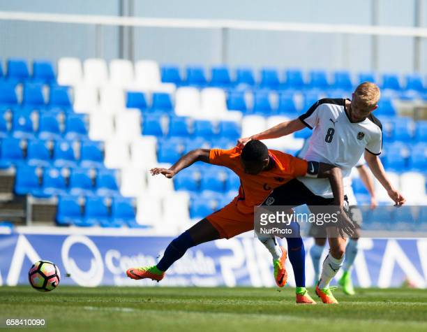 Konrad Laimer Damian Van Bruggen during the friendly match of national teams U21 of Austria vs The Netherlands in Pinatar Arena Murcia SPAIN March...