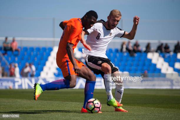 Konrad Laimer Jeremiah St Juste during the friendly match of national teams U21 of Austria vs The Netherlands in Pinatar Arena Murcia SPAIN March...