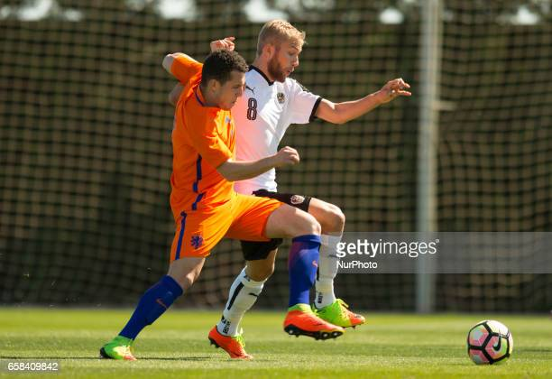 Konrad Laimer Jeremy Helmer during the friendly match of national teams U21 of Austria vs The Netherlands in Pinatar Arena Murcia SPAIN March 27th...