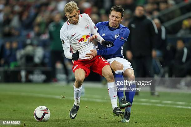 Konrad Laimer of FC Salzburg in action against Yevhen Konoplyanka of Schalke 04 during the UEFA Europa League match between FC Salzburg and FC...