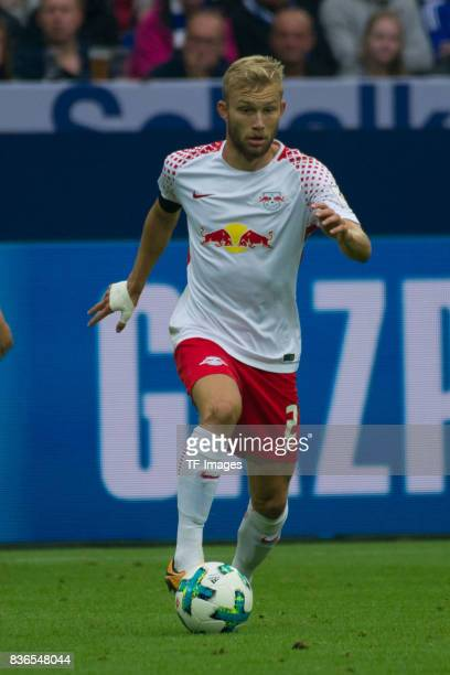 Konrad Laimer of Leipzig controls the ball during the Bundesliga match between FC Schalke 04 and RB Leipzig at VeltinsArena on August 19 2017 in...