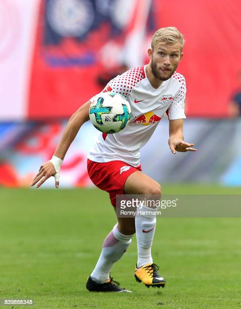 Konrad Laimer of Leipzig runs with the ball during the Bundesliga match between RB Leipzig and SportClub Freiburg at Red Bull Arena on August 27 2017...