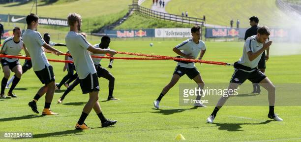 Konrad Laimer of RB Leipzig Benno Schmitz of RB Leipzig controls the ball during the Training Camp of RB Leipzig on July 21 2017 in Seefeld Austria