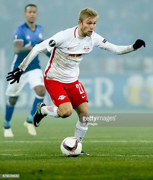 Konrad Laimer of Salzburg in action during the UEFA Europa League match between FC Salzburg and FC Schalke 04 at Red Bull Arena in Salzburg Austria...