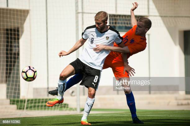Konrad Laimer Pelle Van Amersfoot during the friendly match of national teams U21 of Austria vs The Netherlands in Pinatar Arena Murcia SPAIN March...