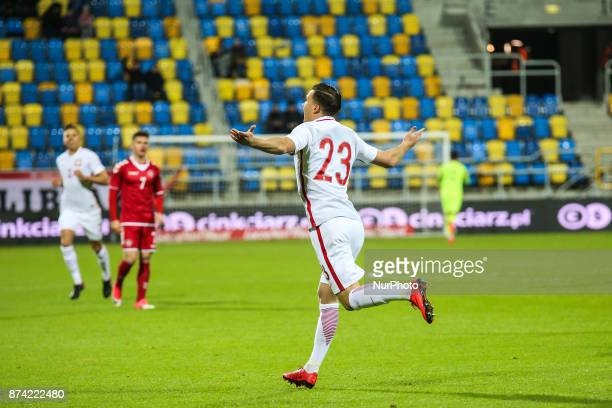 Konrad Michalak celebrates a goal during UEFA U21 Championship Qualifier match between Poland and Denmark on November 14 2017 in Gdynia Poland