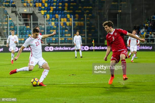 Konrad Michalak scores a gol during UEFA U21 Championship Qualifier match between Poland and Denmark on November 14 2017 in Gdynia Poland