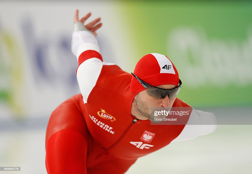 <a gi-track='captionPersonalityLinkClicked' href=/galleries/search?phrase=Konrad+Niedzwiedzki&family=editorial&specificpeople=885545 ng-click='$event.stopPropagation()'>Konrad Niedzwiedzki</a> of Poland competes in the men's 1000m Division A race during day two of the Essent ISU World Cup Speed Skating on December 6, 2014 in Berlin, Germany.
