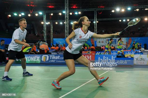Konrad Ploch and Aleksandra Goszczynska of Poland compete against Bassam Tahseen Abdelrahim and Jana Ashraf of Egypt during Mixed Double...