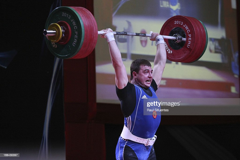 Konstanti Roschupkin of Russia A competes in Men's 94kg during day six of the 2013 Junior Weightlifting World Championship at Maria Angola Convention Center on May 09, 2013 in Lima, Peru.
