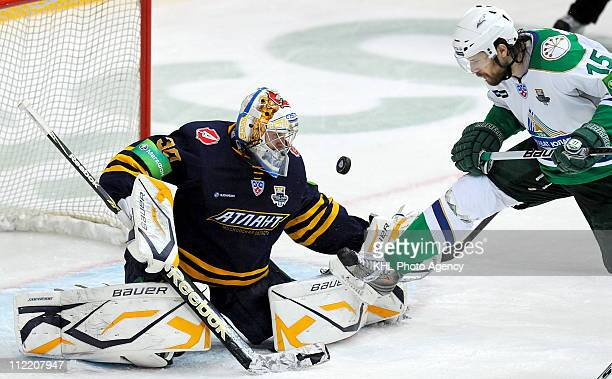 Konstantin Barulin of the Atlant Mytishchi defends the net during Game Four of the 2011 KHL Gagarin Cup Final Series against the Salavat Yulaev Ufa...