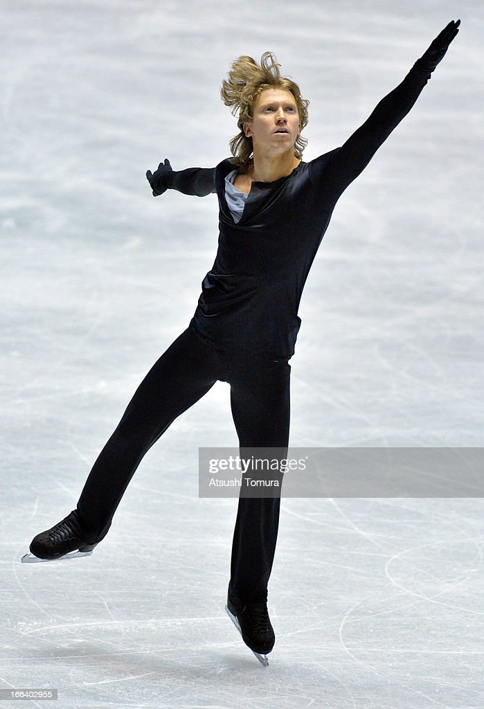 Konstantin Menshov of Russia competes in the men's free program during day two of the ISU World Team Trophy at Yoyogi National Gymnasium on April 12, 2013 in Tokyo, Japan.