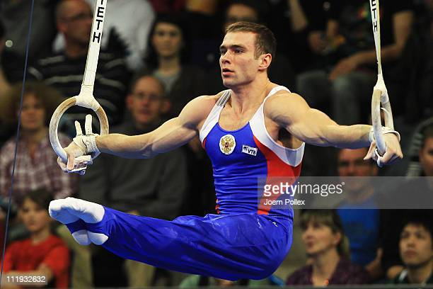 Konstantin Pluzhnikov of Russia performs on the rings during the European Championships Artistic Gymnastics Men's Apparatus Finals at MaxSchmeling...