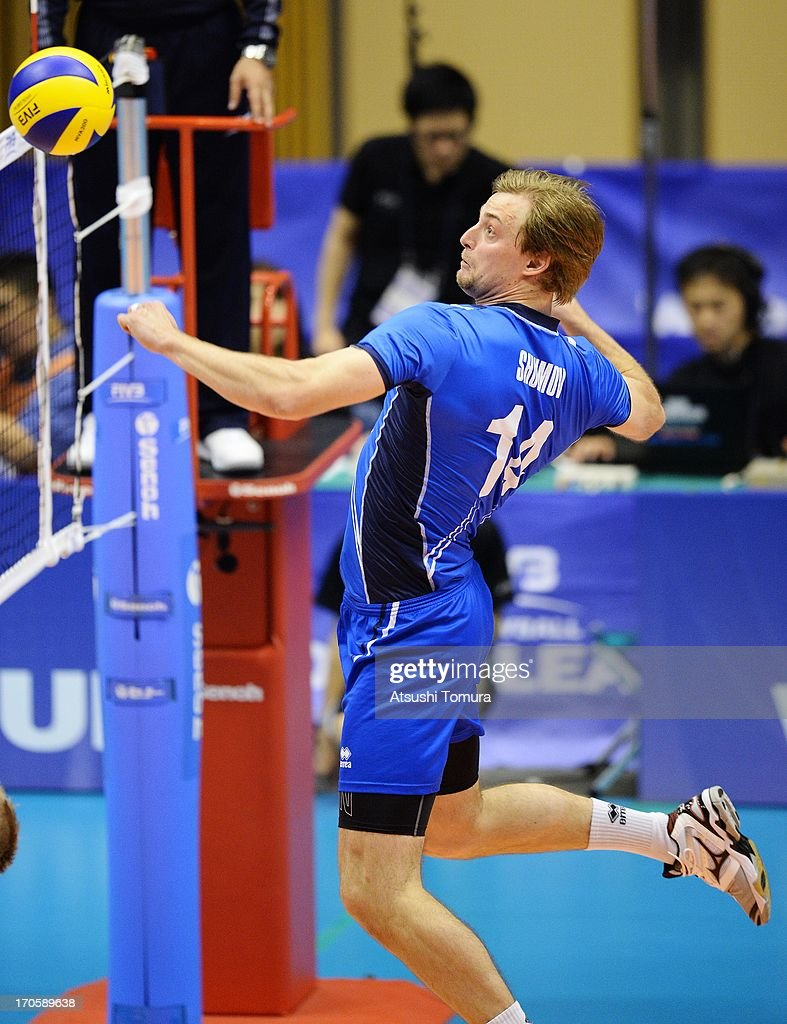 Konstantin Shomov of Finland in action during the FIVB World League Pool C match between Japan and Finland at Park Arena Komaki on June 15, 2013 in Komaki, Japan.