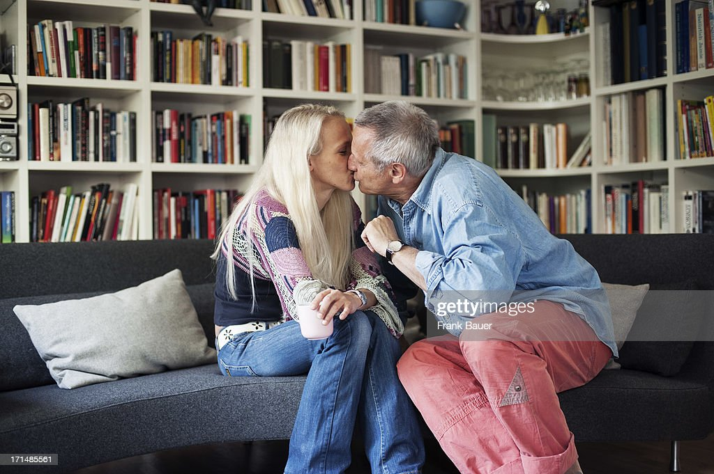 Konstantin Wecker and his wife Annik kiss during a private photo session on June 3, 2008 in Munich, Germany.