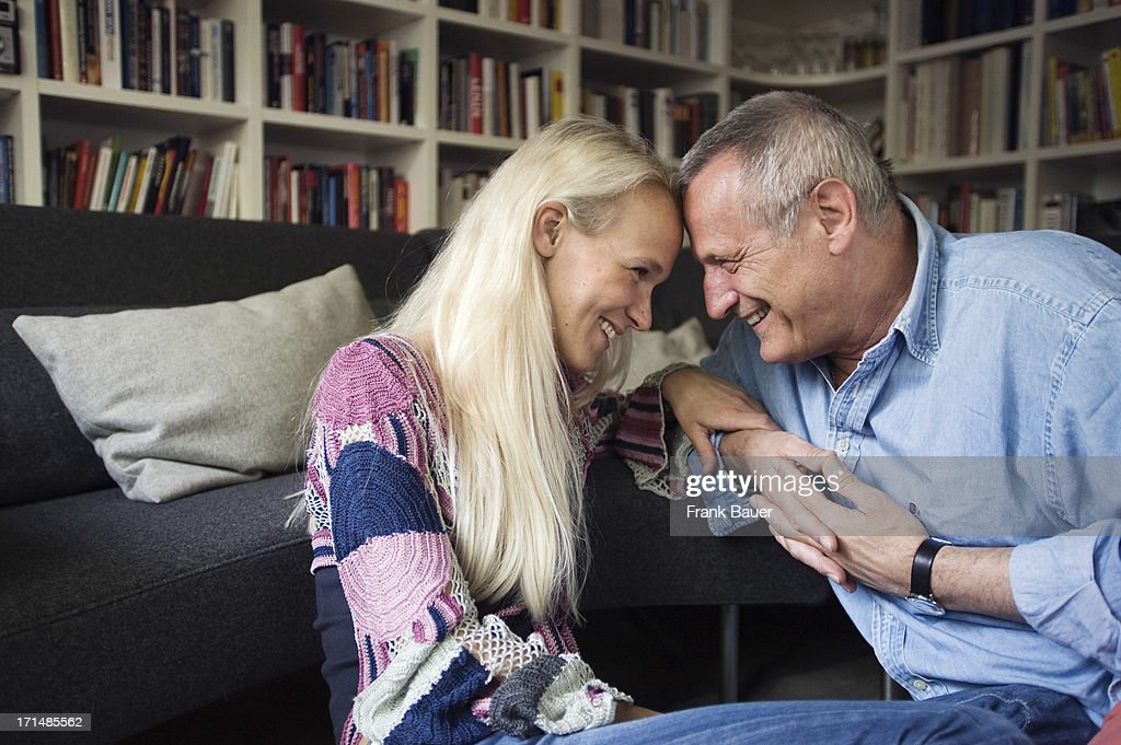 Konstantin Wecker and his wife Annik smile at each other during a private photo session on June 3, 2008 in Munich, Germany.