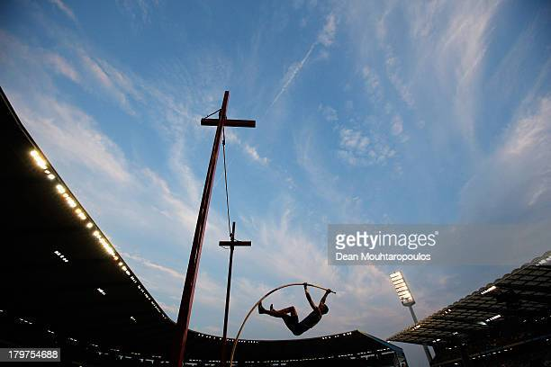 Konstantinos Filippidis of Greece competes in the Pole Vault Men during the 2013 Belgacom Memorial Van Damme IAAF Diamond League meet at The King...