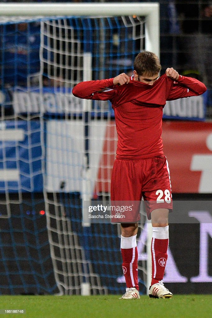 Konstantinos Fortounis of Kaiserslautern reacts after missing a chance at goal during the Second Bundesliga match between VfL Bochum and 1. FC Kaiserslautern at Rewirpower Stadion on October 28, 2013 in Bochum, Germany.