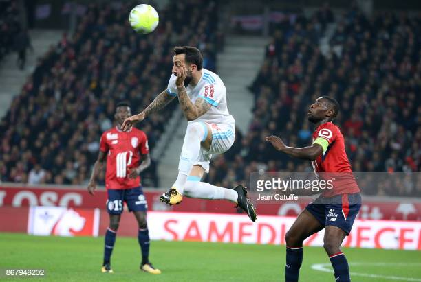 Konstantinos Kostas Mitroglou of OM Ibrahim Amadou of Lille during the French Ligue 1 match between Lille OSC and Olympique de Marseille at Stade...