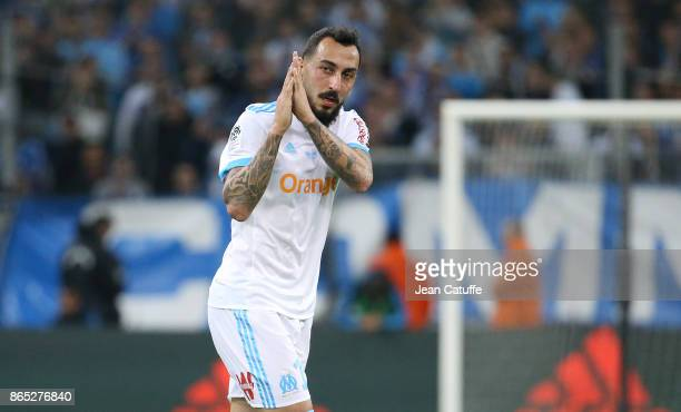 Konstantinos Kostas Mitroglou of OM salutes the fans when replaced during the French Ligue 1 match between Olympique de Marseille and Paris Saint...
