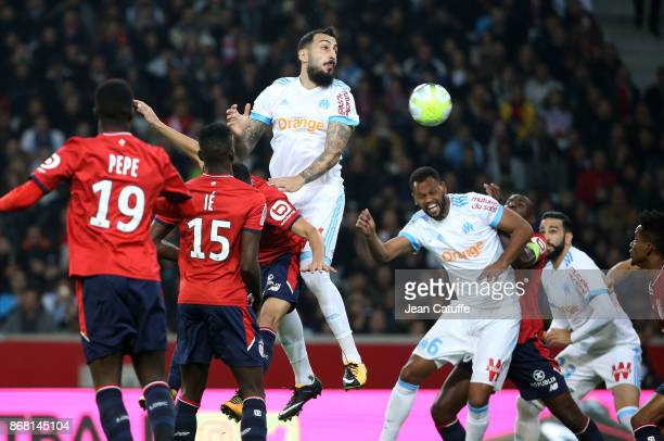 Konstantinos Kostas Mitroglou Rolando Fonseca of OM during the French Ligue 1 match between Lille OSC and Olympique de Marseille at Stade Pierre...