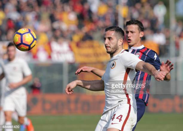 Konstantinos Manolas in action during the Serie A match between FC Crotone and AS Roma at Stadio Comunale Ezio Scida on February 12 2017 in Crotone...
