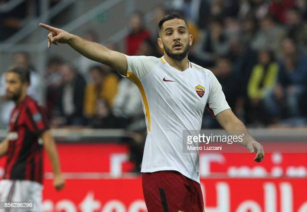 Konstantinos Manolas of AS Roma gestures during the Serie A match between AC Milan and AS Roma at Stadio Giuseppe Meazza on October 1 2017 in Milan...