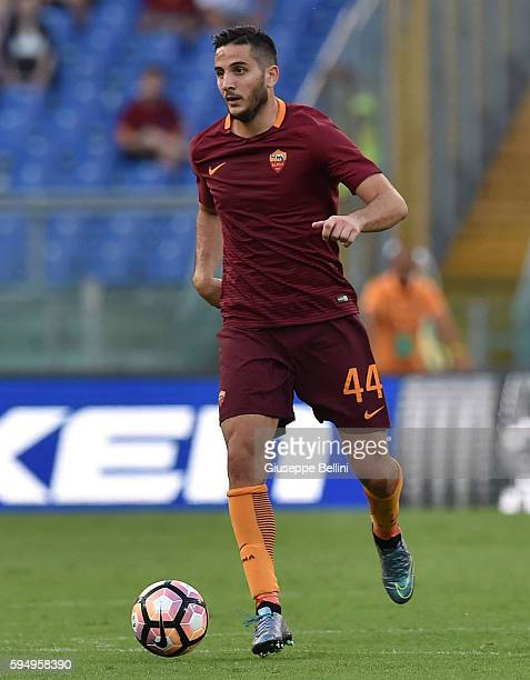Konstantinos Manolas of AS Roma in action during the Serie A match between AS Roma and Udinese Calcio at Olimpico Stadium on August 20 2016 in Rome...
