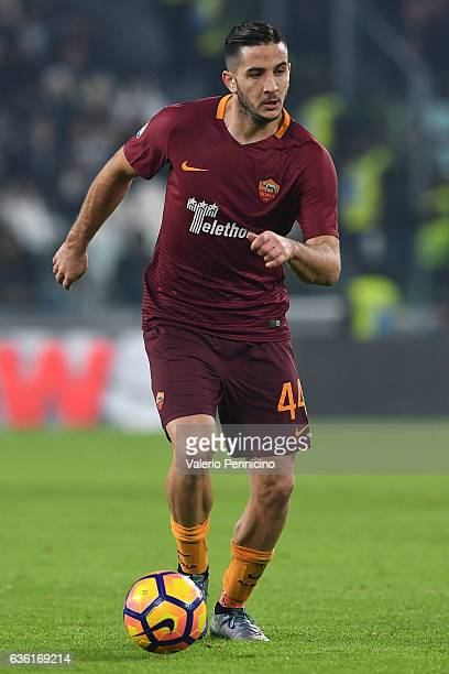 Konstantinos Manolas of AS Roma in action during the Serie A match between Juventus FC and AS Roma at Juventus Stadium on December 17 2016 in Turin...