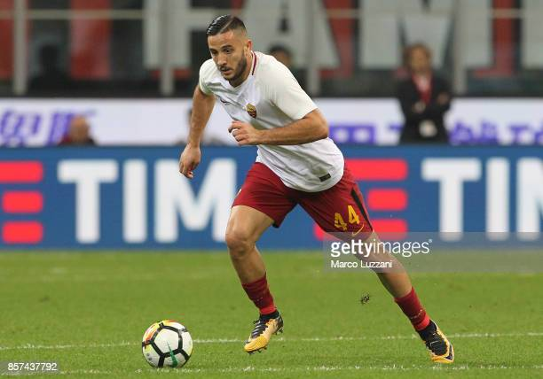 Konstantinos Manolas of AS Roma in action during the Serie A match between AC Milan and AS Roma at Stadio Giuseppe Meazza on October 1 2017 in Milan...