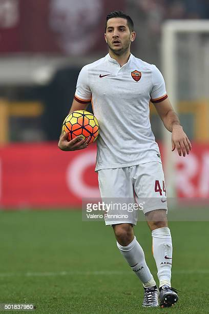 Konstantinos Manolas of AS Roma looks on during the Serie A match between Torino FC and AS Roma at Stadio Olimpico di Torino on December 5 2015 in...