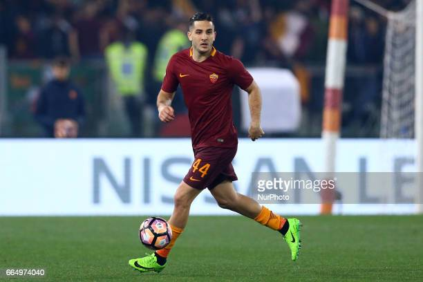 Konstantinos Manolas of Roma during the TIM Cup match between AS Roma and SS Lazio at Stadio Olimpico on April 4 2017 in Rome Italy
