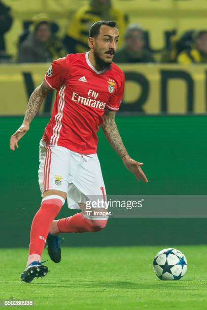 Konstantinos Mitroglou of Benfica controls the ball during the UEFA Champions League Round of 16 Second Leg match between Borussia Dortmund and SL...