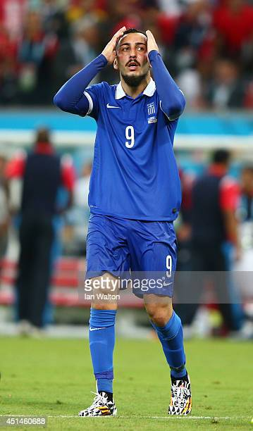 Konstantinos Mitroglou of Greece reacts during the 2014 FIFA World Cup Brazil Round of 16 match between Costa Rica and Greece at Arena Pernambuco on...