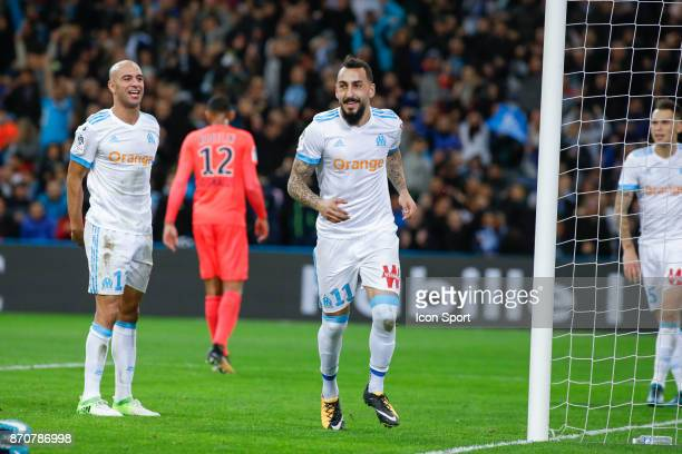 Konstantinos Mitroglou of Marseille celebrates during the Ligue 1 match between Olympique Marseille and SM Caen at Stade Velodrome on November 5 2017...