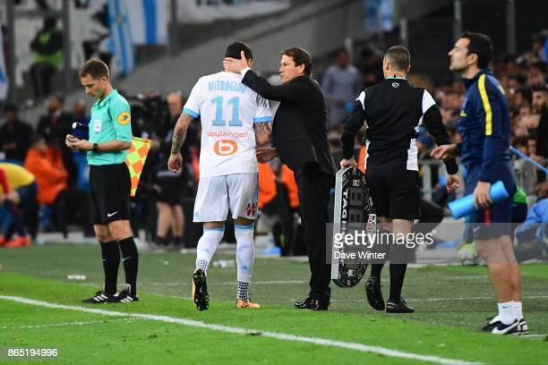 Konstantinos Mitroglou of Marseille is substituted by Marseille coach Rudi Garcia during the Ligue 1 match between Olympique Marseille and Paris...